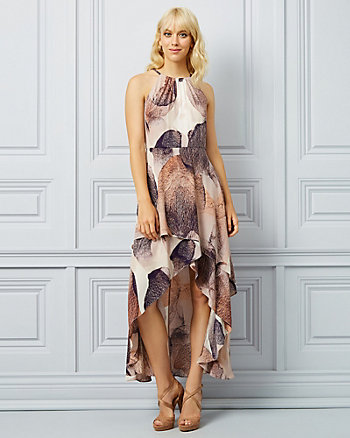 Abstract Print Halter Neck Gown