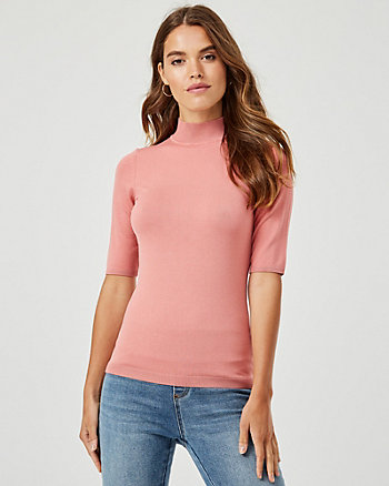 Viscose Blend Mock Neck Sweater