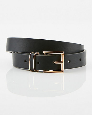 Snake Embossed Faux Leather Skinny Belt