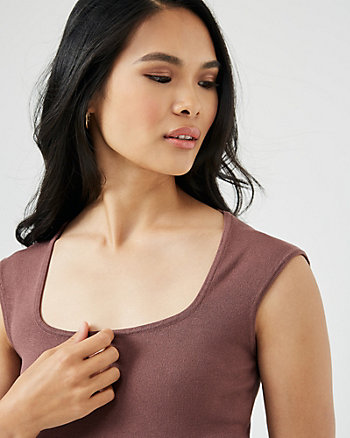 Viscose Blend Square Neck Top