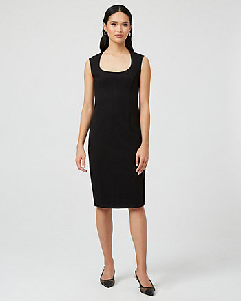 Ponte Knit Square Neck Dress