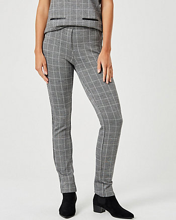 Check Print Double Knit Slim Leg Pant