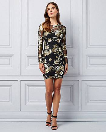 Floral Print Foil Mesh Illusion Dress