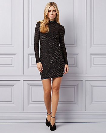 Sparkle Knit Mock Neck Illusion Dress
