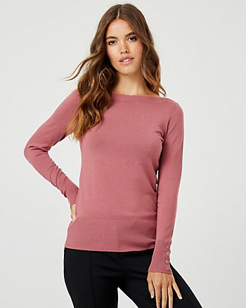 Viscose Blend Boat Neck Sweater