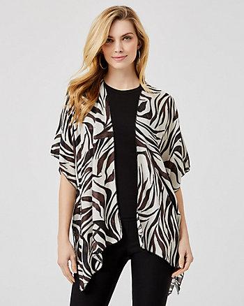 Zebra Print Viscose Kimono