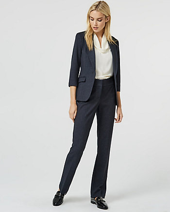 Crosshatch Ponte Knit Slight Flare Leg Pant