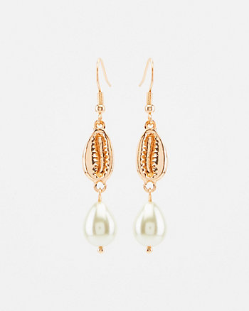 Shell & Pearl-Like Drop Earrings