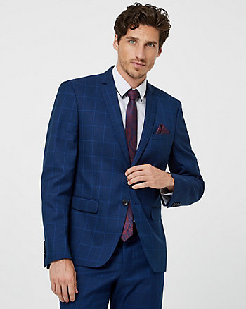 Windowpane Check Print City Fit Blazer
