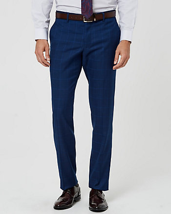 Windowpane Check Print Slim Leg Pant
