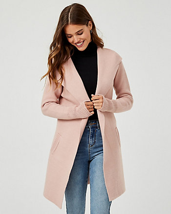 Knit Hooded Sweater Coat