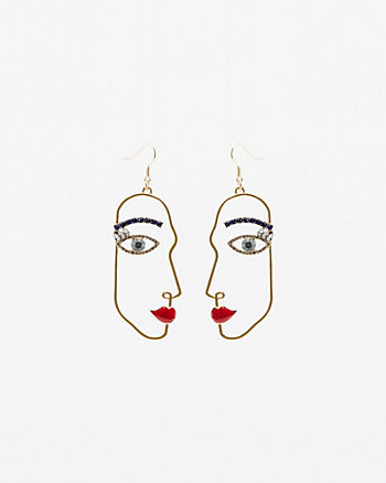 Face Silhouette Drop Earrings