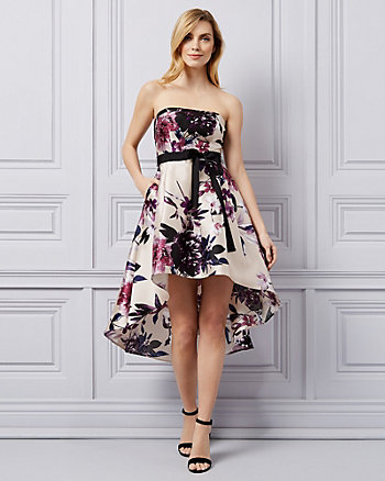 Floral Print Satin Strapless Dress