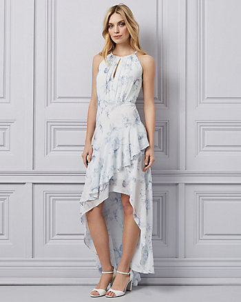 Floral Print Chiffon High-Low Gown