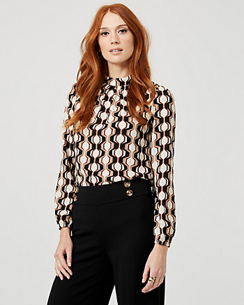 Geo Print Crêpe de Chine Mock Neck Blouse