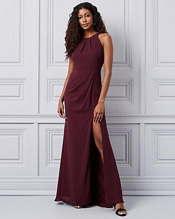 Chiffon Wrap-Like Halter Neck Gown