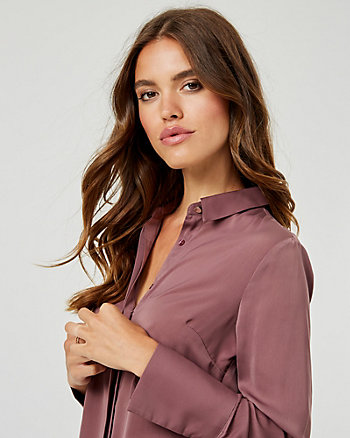 Matte Satin Button-Front Blouse