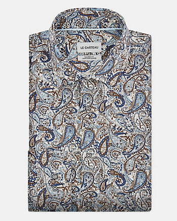 Paisley Cotton Poplin Slim Fit Shirt