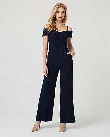 Crêpe de Chine Off-the-Shoulder Jumpsuit