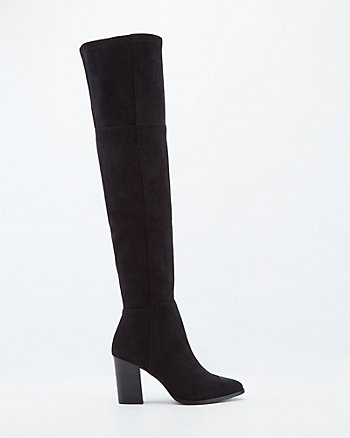 Faux Suede Pointy Toe Over-The-Knee Boot