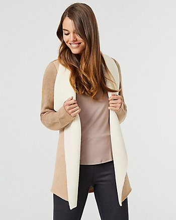 Faux Sherpa Waterfall Sweater Coat