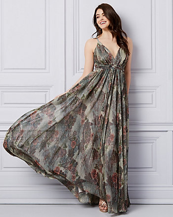 Floral Print Metallic Knit V-Neck Gown