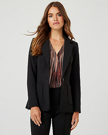 Knit Crêpe Notch Collar Blazer