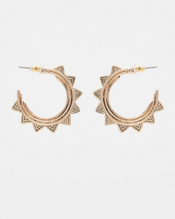 Geometric Sun Hoop Earrings