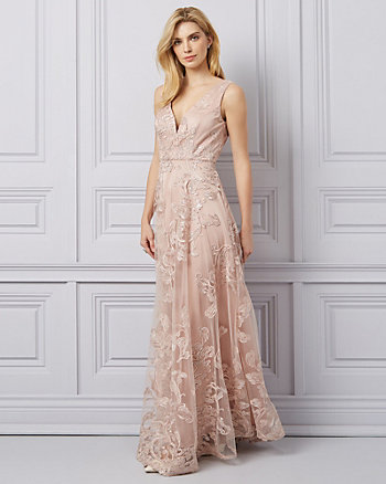 Embroidered Mesh & Tulle V-Neck Gown