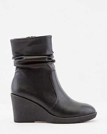 Ruched Faux Leather Wedge Ankle Boot
