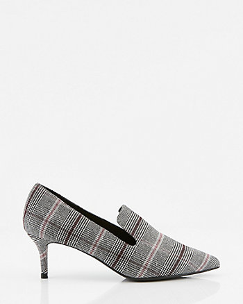 Check Print Pointy Toe Loafer Pump