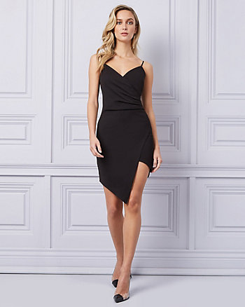 Knit Crêpe Wrap-Like Cocktail Dress