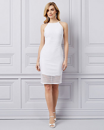 Shadow Stripe Knit Halter Dress