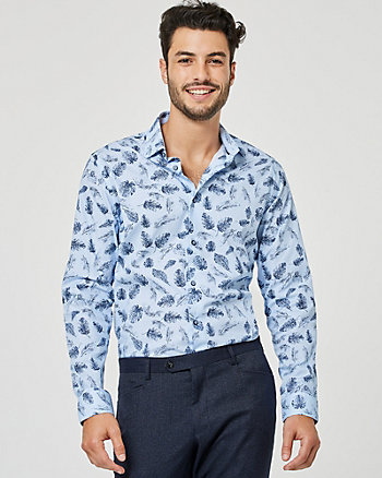 Palm Tree Print Cotton Poplin Shirt