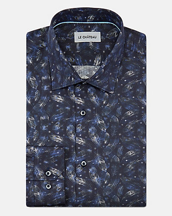 Feather Print Cotton Athletic Fit Shirt