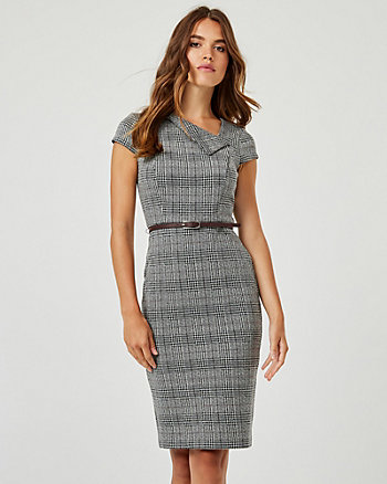 Check Print Knit Jacquard Sheath Dress
