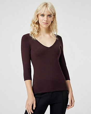 Knit V-Neck Cutout Back Sweater