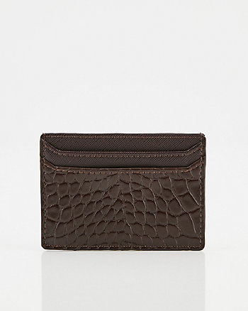 Croco Embossed Faux Leather Card Holder