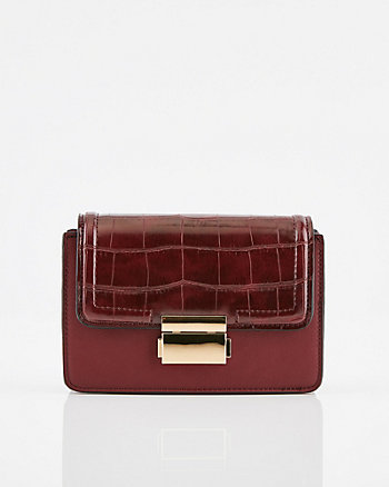 Croco Faux Leather Crossbody Bag