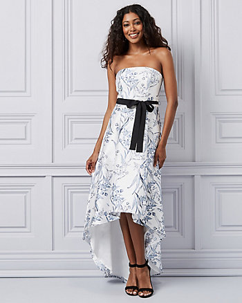 Floral Print Satin Off-the-Shoulder Gown