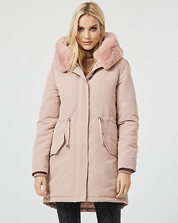 Faux Fur Trim Hooded Anorak Puffer Coat