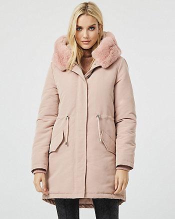 Faux Fur Trim Hooded Anorak Puffer Coat