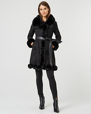 Faux Fur & Faux Suede Wrap Coat