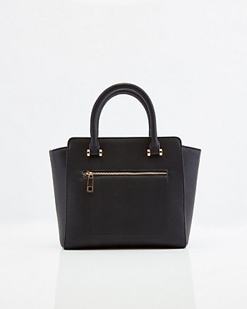Pebbled Faux Leather Satchel Bag