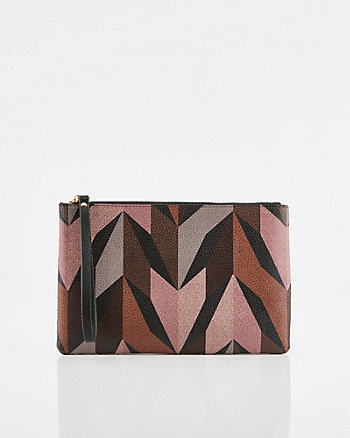 Abstract Print Faux Leather Cosmetic Pouch