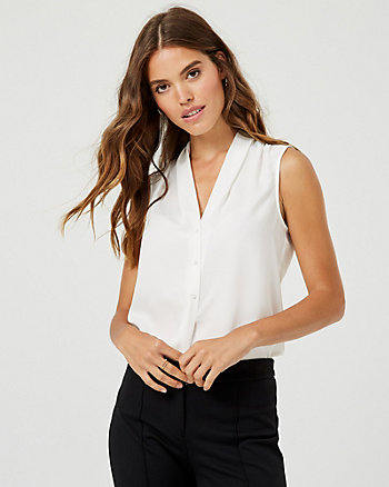 Shiny Twill Built-Up Neck Blouse