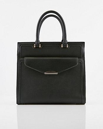 Saffiano Faux Leather Satchel