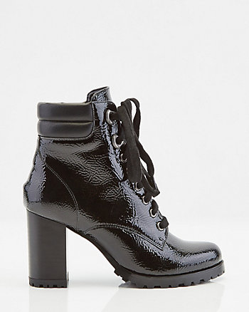 Almond Toe Lace-Up Ankle Boot