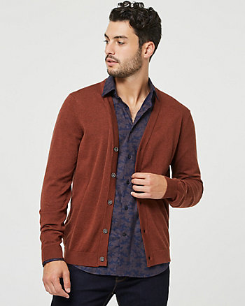 Cotton V-Neck Button-Front Cardigan