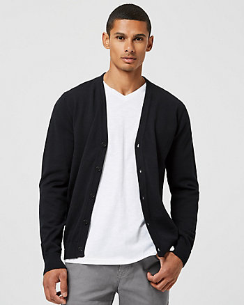 Cotton V-Neck Button-Up Cardigan